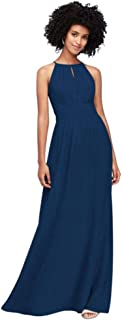 Chiffon High-Neck Bridesmaid Dress with Keyhole Style F19953