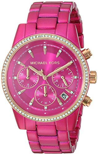Michael Kors Women's Ritz Quartz Watch with Stainless Steel Strap, Pink, 18 (Model: MK6718)
