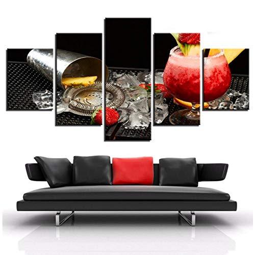 XXSCZ 5 Canvas Schilderijen 5 Stuks Aardbei Cocktail Ijs Blok mousserende Wijnrekken Party Poster Art Canvas Schilderij Muurfoto's voor Woonkamer/Bar 20x35 20x45 20x55cm Met Frame