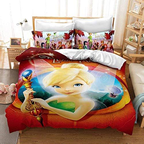 QWAS Disney Anime - Juego de funda nórdica y funda de almohada para niñas y niños, diseño de Campanilla de Disney (A01, 200 x 200 cm + 80 x 80 cm x 2)