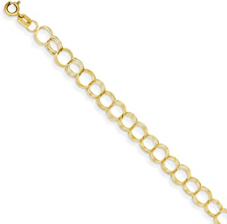 14k Yellow Gold Solid Triple Link Charm Bracelet 7 Inch Fine Jewelry Gifts For Women For Her