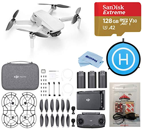 DJI Mavic Mini Fly More Combo Drone FlyCam Quadcopter with 2.7K Camera 3-Axis Gimbal GPS, Strobe Bundle with ARC White Strobe, 128GB microSDCard, Landing Pad, Cleaning Cloth