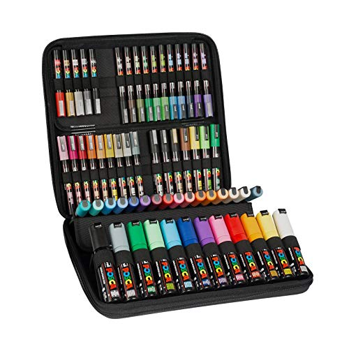 POSCA - Uni Mitsubishi Pencil - Mallette Posca - 60 Marqueurs Posca - Pointes Extra-Fines PC1MC / Fines PC3M / Moyennes PC5M / Biseautées PC8K - Marqueurs Peinture à Base d'Eau - Tout Support