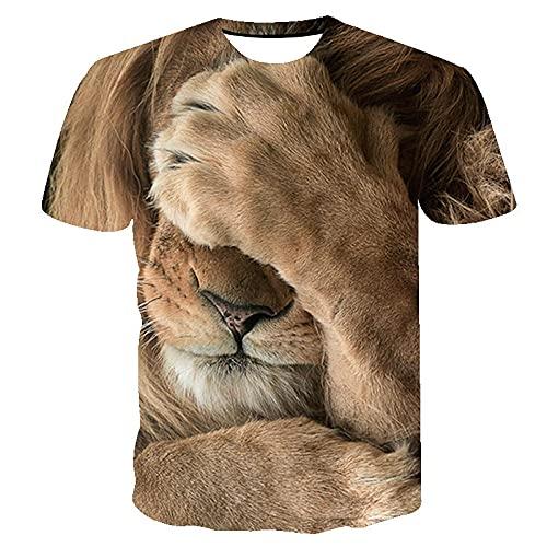 DGSGBAS Hombres 3D León Tímido Impresa Camiseta,Verano Fresco Personalizar Intemperie Casual Deportivas Camiseta de Manga Corta 6XL