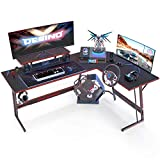 DESINO L Shaped Gaming Desk Computer Corner Desk PC Writing Table Gamer Workstation for Home Office, Black