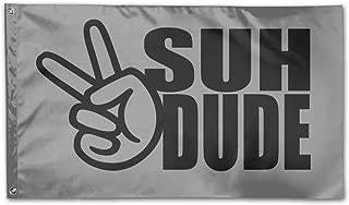 WINDST Personalized Suh Dude Pattern Logo Garden Flag 3x5 ft Outdoor Garden Decorative Banner Black