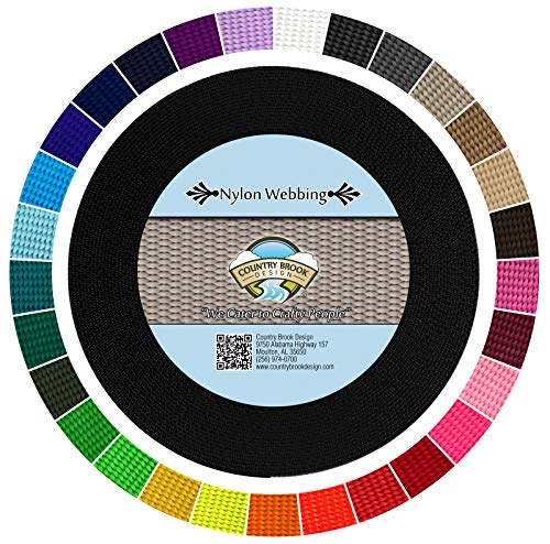 Country Brook Design - Durable 1 Inch Heavy Nylon Webbing - 29 Vibrant Colors (Black, 10 Yards)