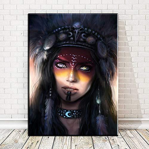 ganlanshu Indische Frau Federn abstrakte nordische Plakat und Druckkunst Wohnkultur auf Leinwand,Rahmenlose Malerei,75x105cm