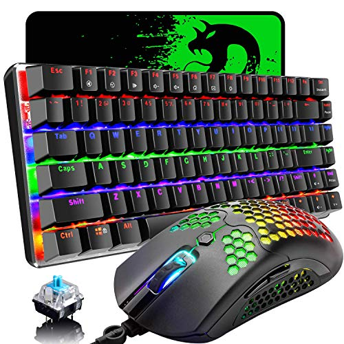 Gaming Keyboard and Mouse,3 in 1 Gaming Set,Rainbow LED Backlit Wired Gaming Keyboard,RGB Backlit 12000 DPI Lightweight Gaming Mouse with Honeycomb Shell,Large Mouse Pad for PC Game(Black) (Renewed)