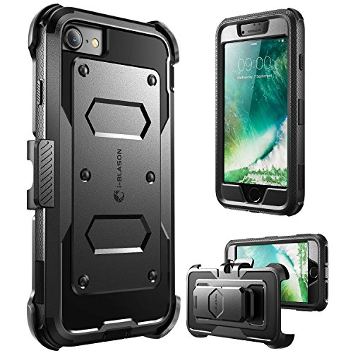 i-Blason Armorbox Series Designed for iPhone SE 2020 Case/iPhone 7 Case/iPhone 8 Case, Built in [Screen Protector] Full-Body Rugged Holster Case for iPhone SE 2020/ iPhone 8/ iPhone 7-Black