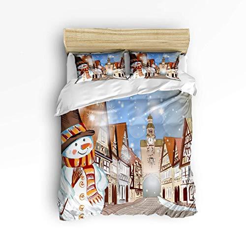 Butlerame 3 Piece Bedding Set Closure Christmas Snowman City Corner Comforter Cover Set Duvet Cover