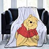 WOMFUI Pooh Baby Blanket Cartoon Plush Soft Warm Print Throws for Bed Couch Chair Living Room 50 x 40 in