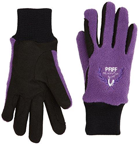 Pfiff 101657 Kinder Handschuhe Fleece, warme Fleecehandschuhe, Kinderhandschuhe, Schwarz / Lila 12 Jahre
