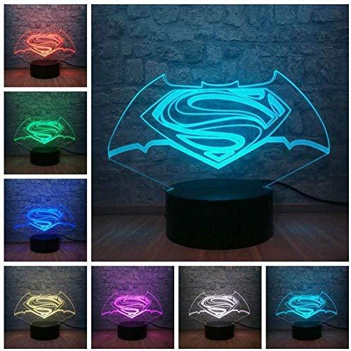 Batman und Superman Gerechtigkeit Dawn Logo Symbol 3D Mehrfarbige Variation Nachtlicht Junge Schlafzimmer Dekoration Kreatives Teen Geburtstagsgeschenk Cooles Spielzeug