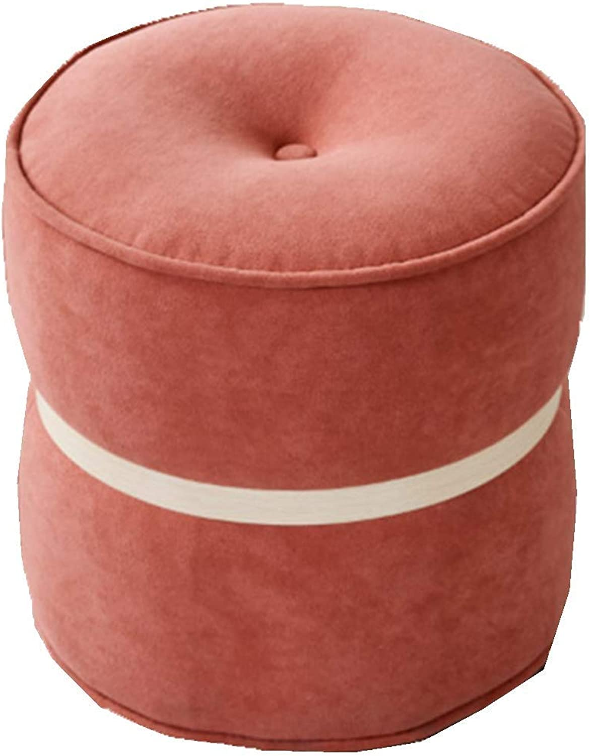 Footstool Step Stools Low Stool Stool Foot Dressing Stool Fabric Chair Makeup Stool Round Stool Change shoes Bench Household Small Stool HENGXIAO (color   Pink)