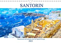 Santorin - Illustrationen der Kykladen Insel im Aquarell-Design (Wandkalender 2022 DIN A4 quer): Trauminsel der Aegaeis (Monatskalender, 14 Seiten )