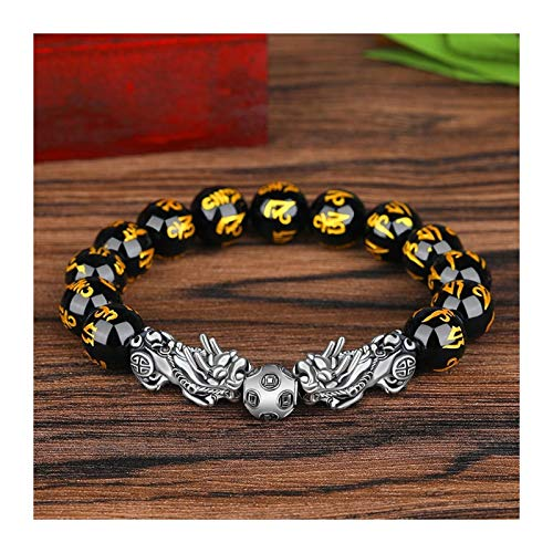 XYBB Fengshui Silver Color Pixiu Obsidian Beads Bracelet Charm Lucky Wealth For Women Trendy Jewelry Proverbs Bracelet (Length : 17 20mm, Metal Color : 4)