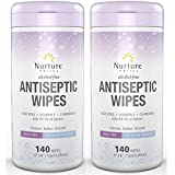 Antiseptic Hand Sanitizing Wipes (2 Canisters) | 280 Alcohol Free Antibacterial Disposable Hand and Body Sanitizer Wipes with Aloe Vera, Chamomile and Vitamin E – 2 Tubs of 140 Wipes