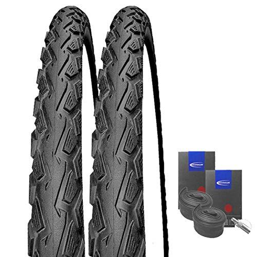 Set: 2 x Schwalbe Land Cruiser schwarz Reifen 26x2.00/50-559 + Schwalbe Schläuche Dunlopventil