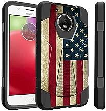 Untouchble Case for Motorola Moto E4 Plus, Moto E4 Plus Case [Traveler Series]- Hybrid Skin Cover Dual Layer Hard Plastic Inner Silicone Stand Case - Vintage American Flag