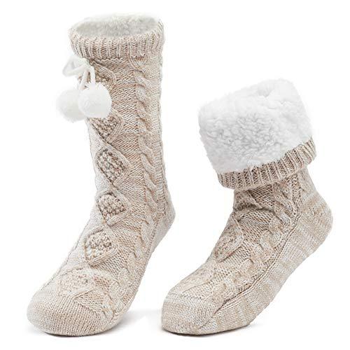 Chaussettes Chaussons Femme Antidérapantes Epaisses a la Maision Slipper Socks Fille d'Hiver Chaud Cadeau de Noël,Taille unique,Beige-2 Beige