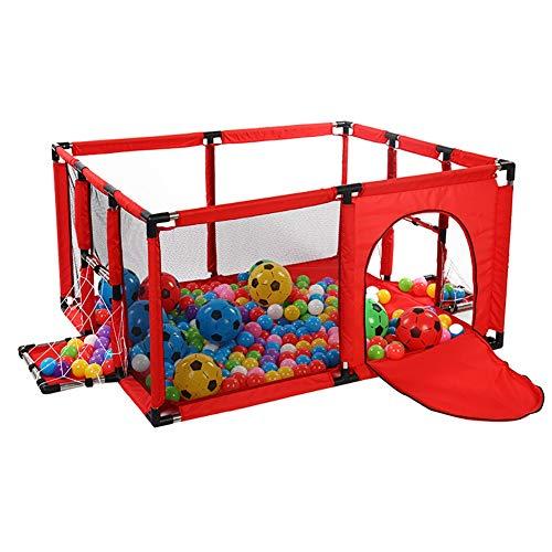 Rojo//Azul Patio de Juegos de Seguridad con colchoneta y aro de Baloncesto Corralito Parque Infantil Grande para beb/és peque/ños para Camas gemelas Extra Alto 66 cm