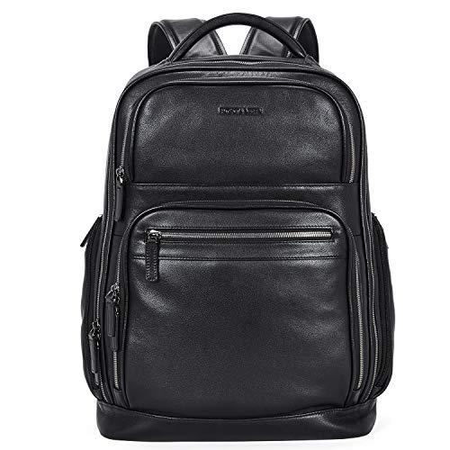 """BOSTANTEN Leather Backpacks College 15.6"""" Laptop Travel Computer Shoulder Backpack For Men Black"""
