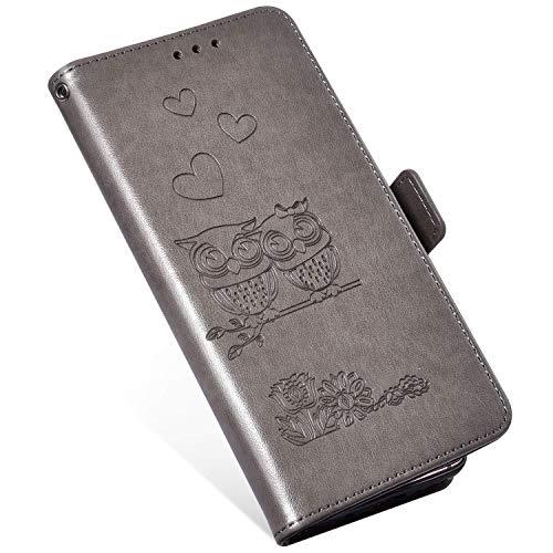 QPOLLY Cover in Pelle Compatibile con Motorola Moto E5 Plus, Custodia PU Portafoglio Libro Flip Wallet Case Caso Gufo Modello Disegni Supporto Porta Carte e Chiusura Magnetica 360 Gradi Cover,Grigio