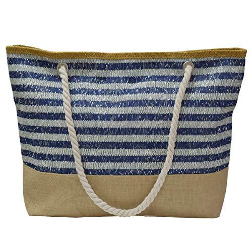 We We Große Stroh-Strandtasche, Seesack, wasserdicht, Segeltuch, Handtasche für Frauen und Mädchen, (Strandtasche, Marineblau), XXX- Large