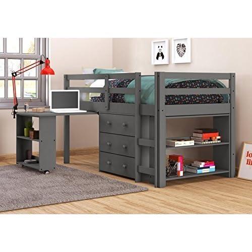 Low Loft Beds With Desk Amazon Com
