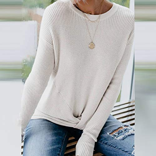 Willow S Women's Fashion Pure Color Tied Long Sleeve Blouse Pullover Top White