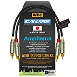 1 Foot RCA Cable Pair - Made with Canare L-4E6S, Star Quad, Audio Interconnect Cable and Amphenol ACPR Gold RCA Connectors – Directional Design - Custom Made by WORLDS BEST CABLES