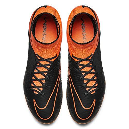 Nike Men's Hypervenom Phantom II LTHR FG Black/Black-TTL Orng-TTL Orng Shoes - 10