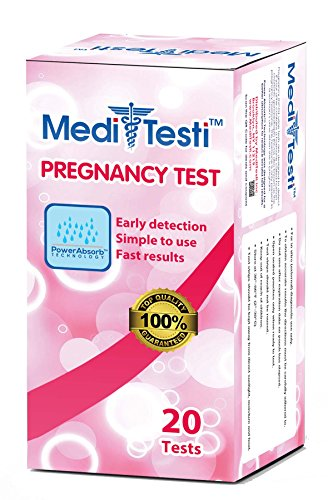 MediTesti Pregnancy Test - Early Detection with Power Absorb Technology - Includes 20 Pregnancy Test Strips (HCG Test)