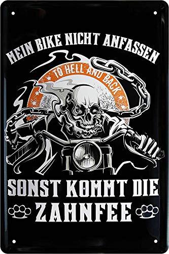 """Blechschilder Lustiger Biker Spruch: """"Mein Bike Nicht ANFASSEN SONST KOMMT DIE Zahnfee"""" Deko Schild Geschenkidee für Motorrad Fans 20x30 cm Produktname"""