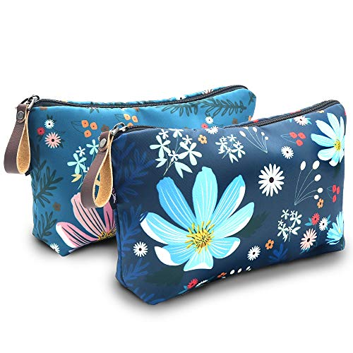 Cosmetic Bag, UYRIE Makeup pouch Travel Makeup Bags Waterproof Toiletry Bag (Two pieces Blue...