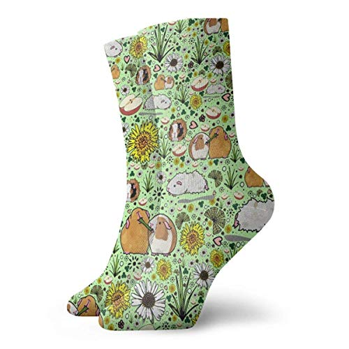 Zhengzho Socken Atmungsaktive Meerschweinchen und Blumen Crew Socke Exotic Modern Women & Men Printed Sport Athletic Socken 30 cm (11,8 Zoll)