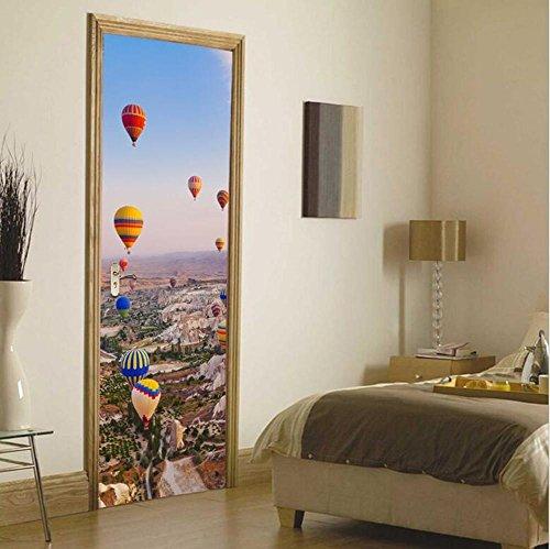 Autocollants de porte Autocollants muraux DIY 3D Autocollants Récapitulés Eco-friendly Papier peint en PVC Mural Art Décorations à la maison Amovible, facile à appliquer, 1 jeu (2 pc)