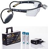 [page_title]-Simlight: Superhelle LED Profi Stirnlampe, incl. 2 Wechsel-Li-Ion-Akkus, Ladegerät und Schutzbrille, kombinierbar mit allen Sehstärke-, Lupen-, oder Schutzbrillen, ideal für medizinisches Personal
