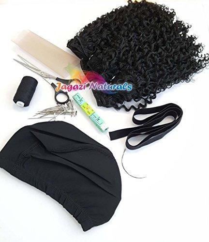Une simple kit de perruque complet. Série Noir/marron. Dome Cap. extension de cheveux. Tissage Aiguille. Filetage. Ciseaux. Kaycee Lot. Bande élastique. Dentelle.