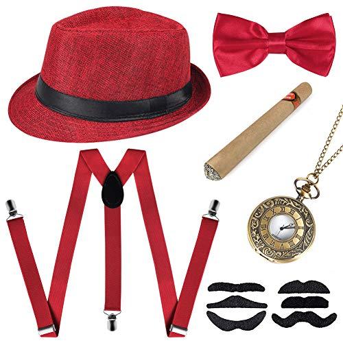 Sinoeem 1920s Herren Accessoires Inklusive Panama Gangster Hut Verstellbar Elastisch Hosenträger Herren Halsschleife Fliege Taschenuhr und Plastik Zigarre (Rot)