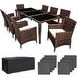 TecTake Salon de jardin en aluminium résine tressée poly rotin table | 8 fauteuils | Deux set de housses + habillage pluie inclus | -diverses couleurs au choix- (Marron | No. 401162)