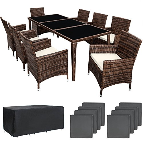 TecTake 800104 Aluminium Poly Rattan Essgruppe, 8 Stühle + 1 Esstisch mit Glasplatten, inkl. 2 Bezugssets und Schutzhülle - Diverse Farben (Braun Schwarz | Nr. 401162)