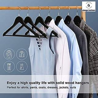 Ginoya Brothers Pack of 10 Wooden Suit Hanger (Black)