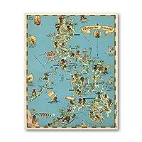 島 気まぐれな 地図 ポスター 版画 ヴィンテージ 壁 アートパネル 1930年代 フィリピン キャンバス 絵画インテリア 楽しい 写真 生活 部屋 オフィス 装飾 40X60cm フレームなし