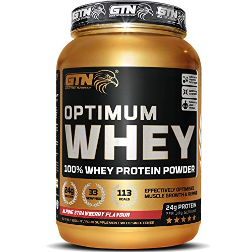 GTN - Optimum WHEY Protein   Gold Tech Nutrition Optimum Whey Protein Powder Muscle Building Supplements with Glutamine and Amino Acids (Alpine Strawberry, 907g)