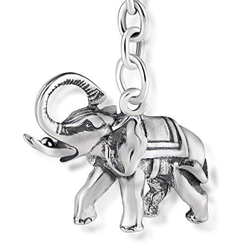 STERLL Llavero para hombre Amuleto de buena suerte Elefante, de plata 925 oxidada, ideal como regalo de hombre, con una bolsa