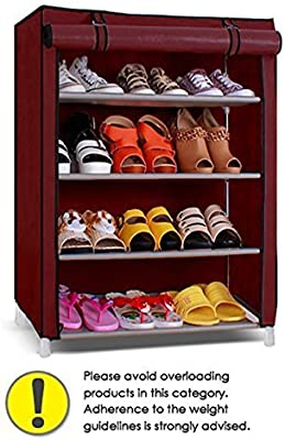 SK Shoe Cabinet, 4-5 Layer Maroon Shoe Rack Organizer