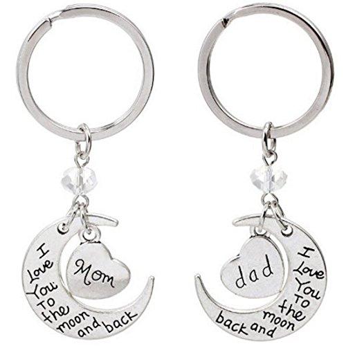 Kim Johanson Eltern Geschenkset 'Ich liebe dich bis zum Mond und zurück' 2 x Schlüsselanhänger in Silber für Mama & Papa inkl. Schmuckbeutel