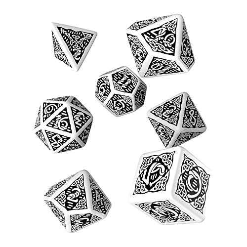 Celtic 3D Revised White & Black Dice Set (7) [Refreshed Design]